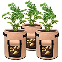 Patato Grow Bags 7 Gallon Garden Planting Bag Aeration Fabric Pot with Handles for Planter 3 Pack