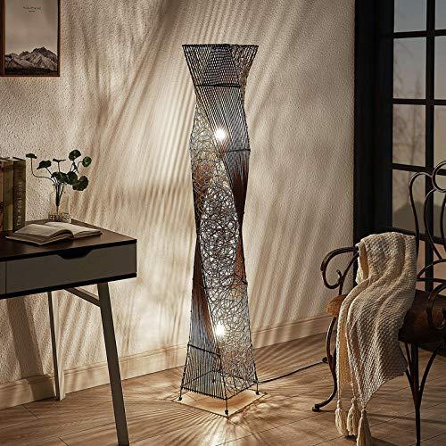 Lindby vloerlamp hout 'Kassia' in Hout licht uit bamboe o.a. voor woon-/ eetkamer – houten vloerlamp, staande lamp