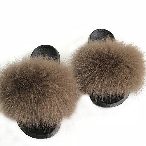 Woman Lady Genuine Real Fox/Raccoon Fur Slipper Slider Indoor Outdoor Flat Sandals Flip Flops Shoes (7.5, (Genuine Real Fox)