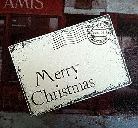 Cartel de Madera con Texto en inglés Merry Christmas, Postal ...