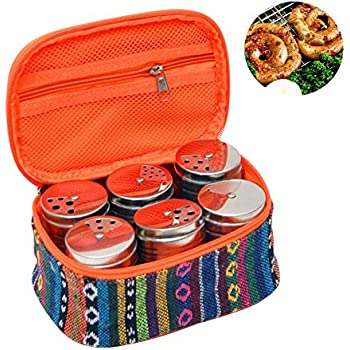 Pawaca 6 Pack Spice Tins with Portable Storage Bag, Stainless Steel Cruet Set Seasoning Box Spice Jars with Shaker Lids for Outdoor Barbecue Picnic Kitchen Essential Spice Shake Bottle