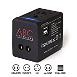 ABC Products Universal International Foreign Tourist Vacation Holiday Multi Travel Adapter Adaptor Convertor with Dual (2) USB Port Plug for 150 + Countries - USA to World Wide use and reversible World Wide Plugs to USA - for your iPad / iPhone / Mobile / Laptop etc + all your other electrical products