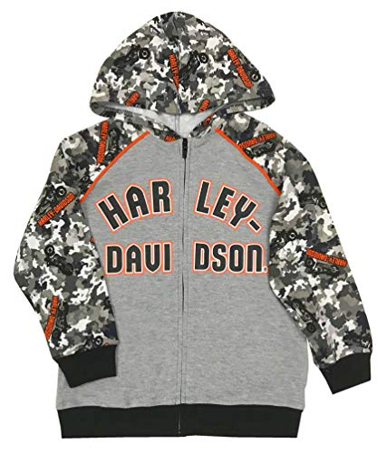 Harley-Davidson Little Boys' Camo Colorblocked Knit Zippered Hoodie, Gray (4T) (Harley Davidson Camo)