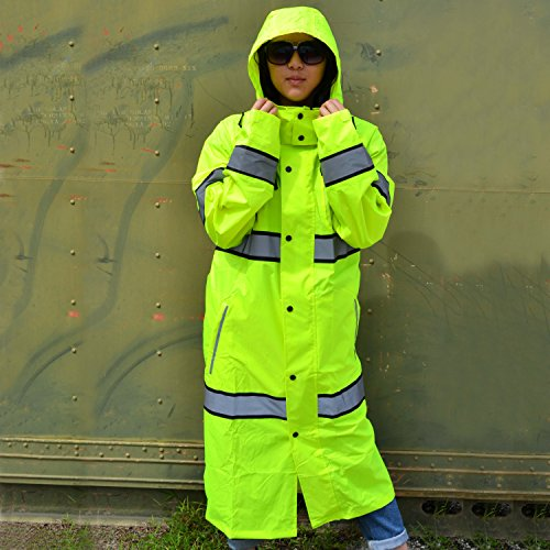 KwikSafety (Charlotte, NC) TORRENT Class 3 Safety Trench Coat | High Visibility Waterproof Windproof Safety Rain Jacket | Hi Vis Reflective ANSI Work Wear | Rain Gear Hideaway Hood Carry Bag | Large by KwikSafety (Image #8)