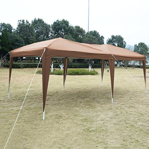 Cafe 10'X20' EZ POP UP Gazebo Wedding Party Tent Folding Canopy Carry Bag Cross-Ba (Sand Evanston)
