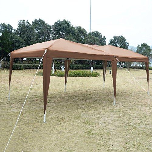 Cafe 10'X20' EZ POP UP Gazebo Wedding Party Tent Folding Canopy Carry Bag Cross-Ba (Evanston Sand)