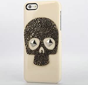 Shapotkina DIY Mobile Phone Case for Iphone 4 4s Cellphone Cover Beige with Bronze Skull