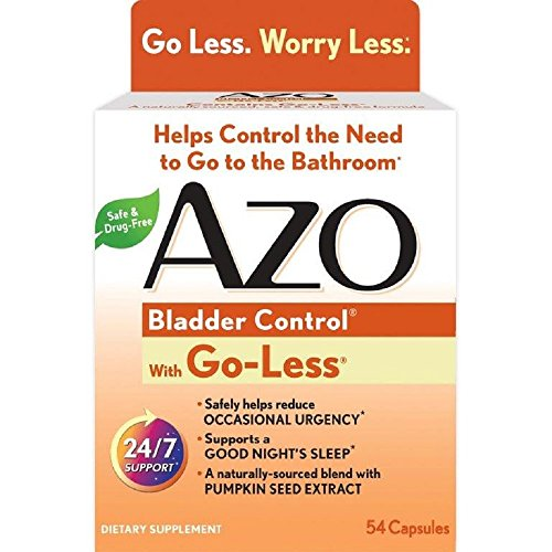 Azo Bladder Control With Go Less Dietary Supplement  Pumpkin Seed Extract  Soy Germ Extract  Gmo Free  Gluten Free  Yeast Free  Synthetic Color Free  54 Count