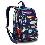 LONECONE Kids' Canvas Preschool Backpack - Integrated Tablet Sleeve, School of Fish