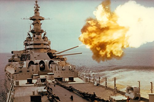 LAMINATED POSTER The U.S. Navy battleship USS Iowa (BB-61) fires a 406 mm (16 inch) shell toward a North Korean targe