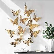 Qikafan 12PC 3D Hollow Butterfly Wall Décor 3 Sizes Butterfly Decor Hollow Carving Butterfly Exquisite Design,