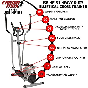 Cardio Max JSB HF151 Heavy Duty Elliptical Cross Trainer Magnetic Fitness Bike Exercise Cycle Home Gym