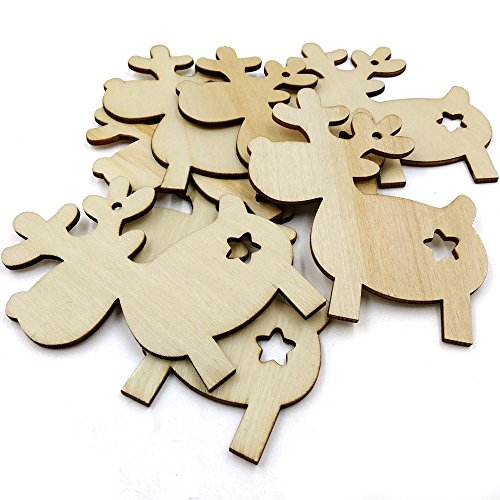 Clearance Tuscom 10Pcs Wood Christmas Star Deer Craft Ornament,for Reindeer Xmas Room Bedroom Hanging Decoration,3.15