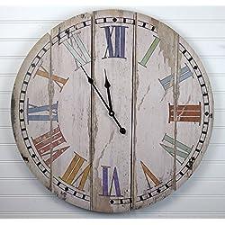 23 Vintage Inspired Wood Slats Colorful Wall Clock