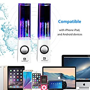 SoundSOUL Water Dancing Speakers Light Show Water Fountain Speakers LED Speakers (3.5mm Audio Plug, 4 Colored LED Lights, Portable Speakers) - White