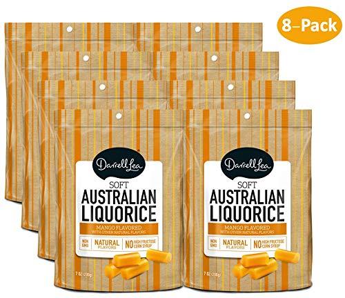 Soft Australian Mango Licorice (8-Pack) - Darrell Lea (8) 7oz Bags - NON-GMO, NO HFCS, Vegetarian & Kosher - America's #1 Soft Eating Licorice Brand!