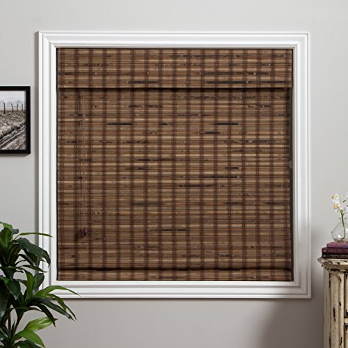 1 Piece 73''Wx74''L Multi Black Grain Brown Ochre Tan Natural Wood Pull Up Bamboo Blind Eco Friendly Rustic Roman Horizontal Slat With Built In Valance Nature Window Treatment Allows Gentle Sunlight by PH