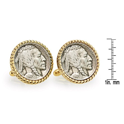American Coin Treasures 1913 First-Year-of-Issue Buffalo Nickel Goldtone Rope Bezel Cuff Links by American Coin Treasures (Image #3)