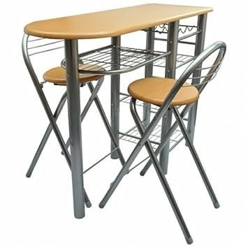 Amazon.de: Küche Frühstück Bar Tisch und 2 Stühle Set Eßzimmer Möbel ...