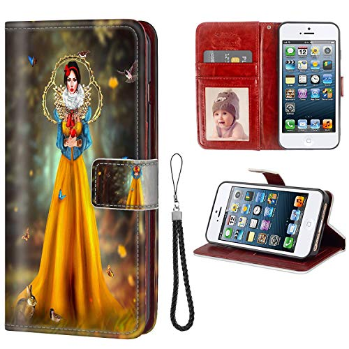 DISNEY COLLECTION Phone Wallet Case Fit for Apple iPhone 5 and iPhone SE and iPhone 5S [5.5