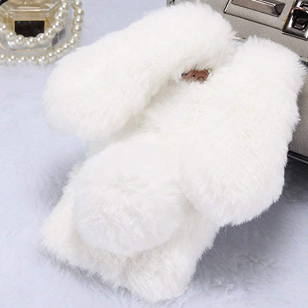 Soft Rabbit Furry Case for Samsung Galaxy A9 2018,Aoucase Luxury Handmade Fluffy Bunny Faux Fur Plush Diamond Bowknot Shockproof Rubber Cover with Black Dual-use Stylus Pink