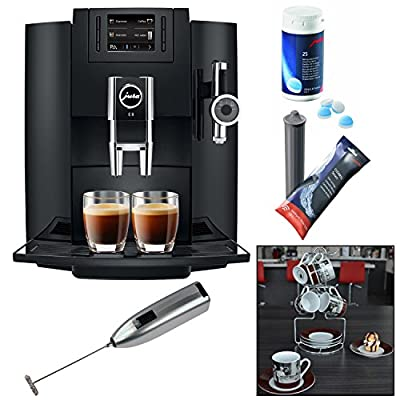 Jura E8 Espresso Machine + Cleaning Tablets + Filter Cartridge + Knox Milk Frother