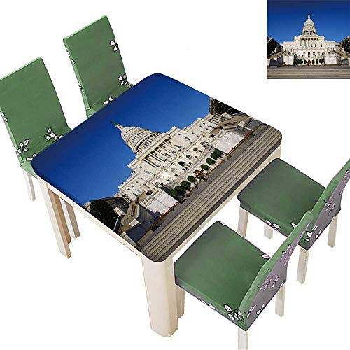 Printsonne Polyester Tablecloths US Capitol for Indoor and Outdoor Use 52 x 52 Inch (Elastic Edge)]()