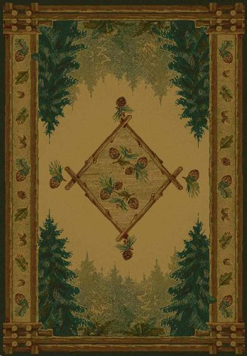 United Weavers of America Genesis Forest Trail Lodge Rug - 3ft. 11in. x 5ft. 3in. Olefin Rug with Southwest/Lodge Style, Twisted Heatset Construction