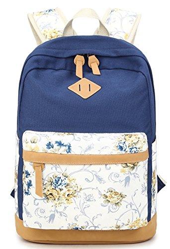 Preppy Korean Style Canvas Polka Dot Casual Daypacks College Student Satchels (Navy Blue)