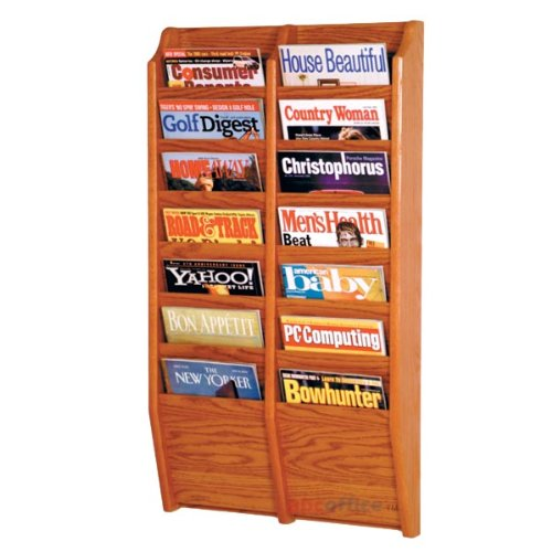 Wooden Mallet MR36-14 14 Pocket Wall Mounted Oak Magazine Rack in Medium Oak