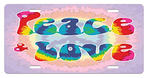 Ambesonne Groovy License Plate, Peace and Love Text in Tie Dye Effect Pattern Energetic Youthful Fun 60s 70s Hippie, High Gloss Aluminum Novelty Plate, 5.88
