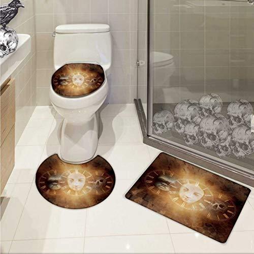 Carl Morris Psychedelic toilet mat set Gothic Spooky Birth Life Death Mask and Skull Baby Face Sacred Artwork Design 3 Piece Shower Mat set Tan Golden