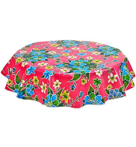 Round Freckled Sage Oilcloth Tablecloth in Hawaii Pink - You Pick the Size! by Freckled Sage Oilcloth Products