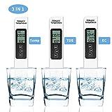 3-in-1 Water Quality Tester,LCD Display Digital Tds Ec Meter Temperature Measurement Combo