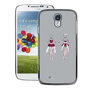 A-type Arte & diseño plástico duro Fundas Cover Cubre Hard Case Cover para Samsung Galaxy S4 (Sexy Santa Lingerie Woman Sketch Grey)