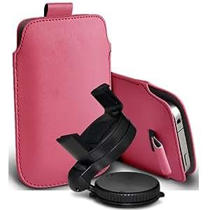 Nokia Lumia 820 premium protección PU ficha de extracción Slip In Pouch Pocket Cordón Piel Con Holder 360 giratorio del parabrisas del coche cuna Baby Pink por Spyrox