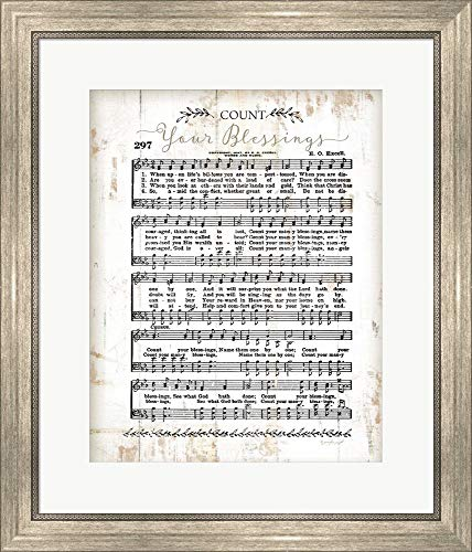 - Count Your Blessings by Jennifer Pugh Framed Art Print Wall Picture, Silver Scoop Frame, 22 x 25 inches