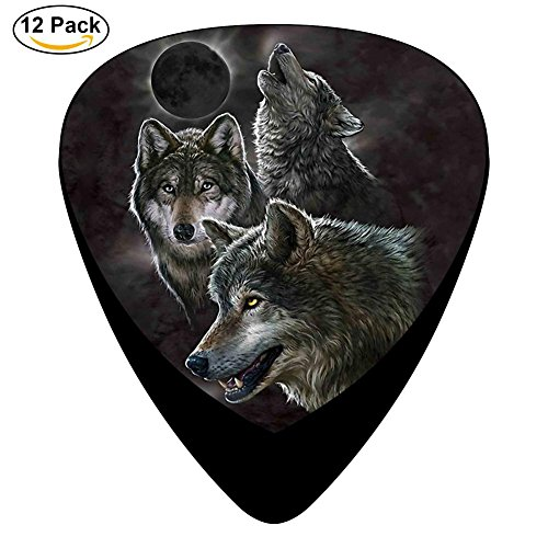 Eclipse Wolves Celluloid Guitar Picks 12 Pack Includes Thin,Medium,Heavy Gauges For Electric Acoustic Guitar