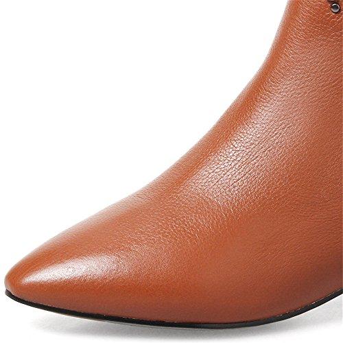 Nio Sju Äkta Läder Womens Spetsig Tå Chunky Häl Zip Handgjorda Sexig Nit Stövletter Brun
