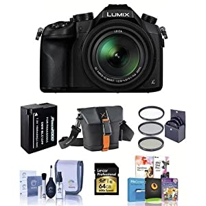 Panasonic Lumix DMC-FZ1000 Digital Camera, - Bundle with 64GB Class 10 SDXC Card, Camera Holster Case, Spare Battery, 62mm Filter Kit, Cleaning Kit, Software Bundle