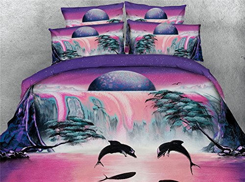 Waterfall Dolphin (Newrara 3D Bedding Set 3D Dolphin and Waterfall Scenery Digital Printed Cotton 4-Piece Blue Bedclothes Bed Sheet Bedding Sets/Duvet Cover Sets,Not Include comforter (Pink, Twin))