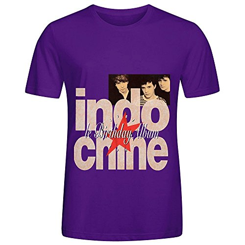 Indochine Le Birthday Album 1981 1991 Census Mens Crew Neck Short Sleeve Tee Shirts Purple