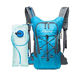 Fypo Hydration Pack, 2L Water Storage Backpack Bag with TPU Bladder for Running Hiking Camping Cycling Outdoor Sports, Waterproof FDA Certified for Men and Women, Blue