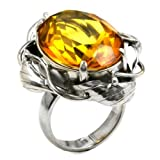 Honey Amber Sterling Silver Faceted Collection Oval Ring Size 5,6,7,8,9,10,11,12