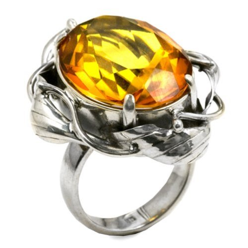 - Amber Sterling Silver Faceted Collection Oval Ring
