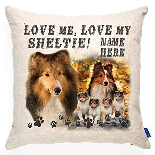 ChristBess Personalized Shetland Collie Sheltie Dog Cushion Pillow Cover | Love Quote Puppy | Terrier Pet Gift