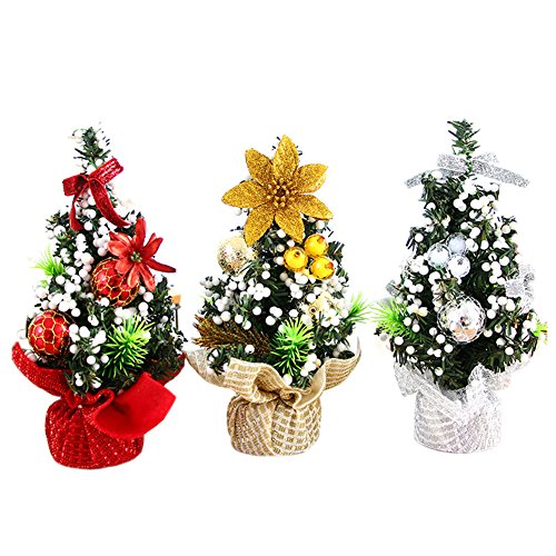 Mini Artificial Christmas Tree Christmas Decoration for Table and Desk Tops Small Christmas Tree Perfect for Your Home Office 3Pack
