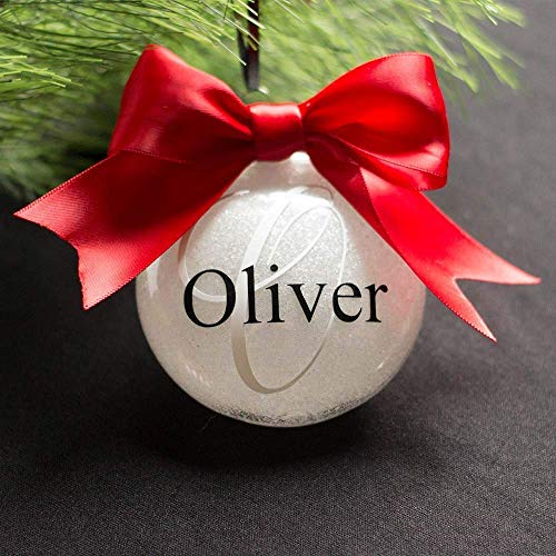 White Personalized Christmas Ornament Custom Monogram Glitter Year 2019 Bauble (Bulbs Custom Christmas)