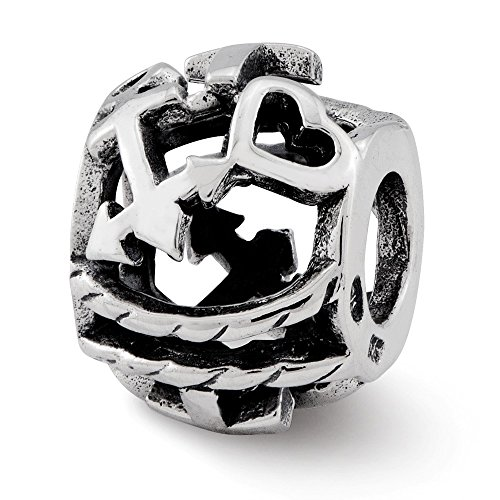 Sterling Silver Reflections Cross ss, Heart, Anchor Bali Bead Solid 8.18 mm 10.00 mm Themed Beads Jewelry (Ss Bali Bead)