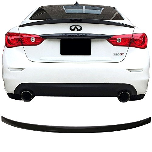 Pre-painted Trunk Spoiler Fits 2014-2018 Infiniti Q50 | ER Style ABS Painted Glossy Black Trunk Boot Lip Spoiler Wing Deck Lid Other Color Available By IKON MOTORSPORTS | 2015 2016 2017